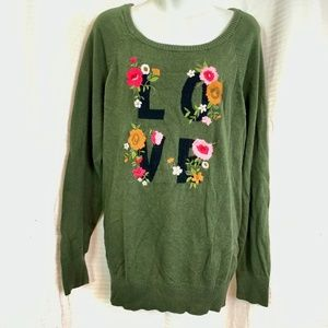 TORRID LOVE Sweater Olive Embroidered Floral sz 2